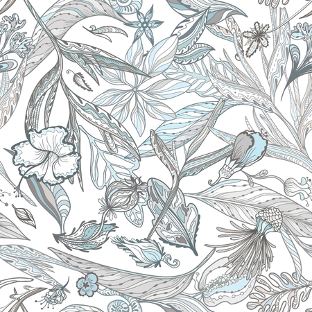 Seamless texture with exotic eastern leaves and flowers in white, brown and blue for textile and wallpaper design Illustration