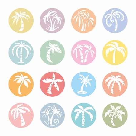 Bright circle sketch silhouette travel signs of palms isolated on white background Illustration