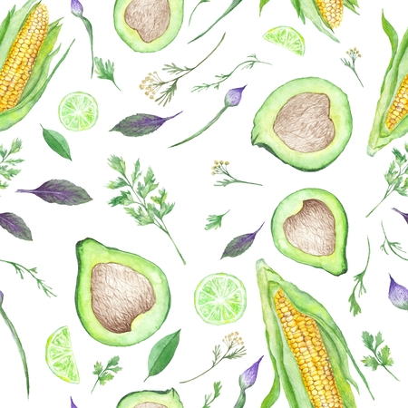 Seamless vegan texture with avocado, corn, lime and herbs isolated on white background