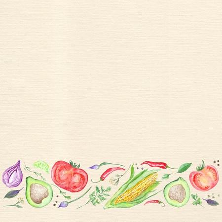 Menu page template with watercolor vegetarian ingredients stripe