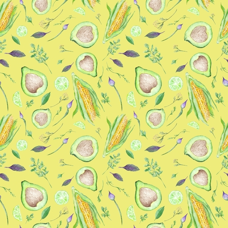 Seamless vegetarian pattern with watercolor vegetable illustrations on bright yellow color