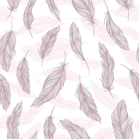 Seamless sketch boho style texture with elegant pink and lilac feathers on white background