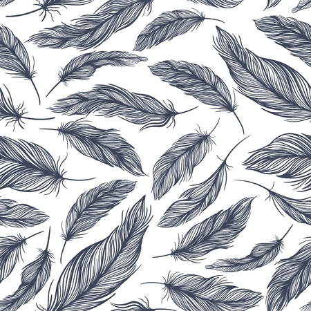 Seamless tile texture with elegant classical feather ornaments
