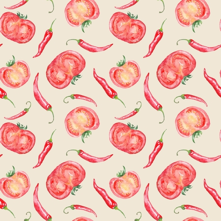 Seamless kitchen texture with red vegetables on beige background