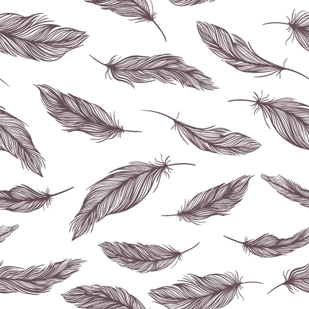 Seamless classical texture with elegant sketch hand painted feathers Illustration
