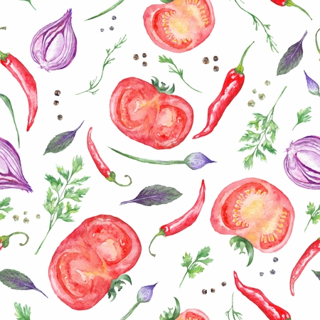 Seamless vegetable pattern with tasty italian food for kitchen and menu design