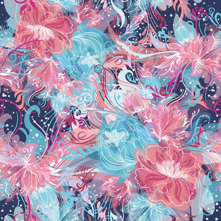 magic lily: Seamless ornamental doodle sketch style background with watercolor effect and white lines in blue and pink colors Illustration
