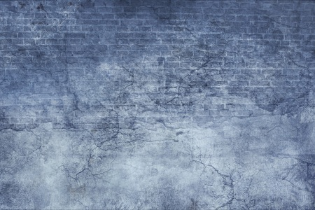 stucco: Blue stucco and brick vintage old grunge texture with cracks and scratches Stock Photo
