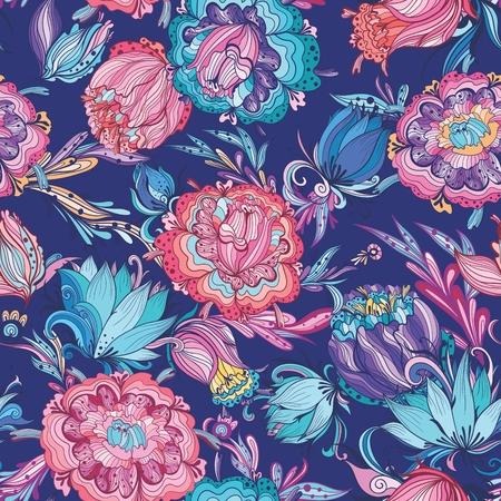 seamless texture magique avec lotus et pivoine fleurs sur indigo fond pour papier et textile conception