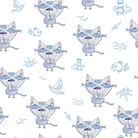 Sea Cat Vector Pattern
