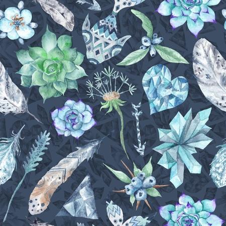 Boho Indigo Watercolor Pattern Stock Photo