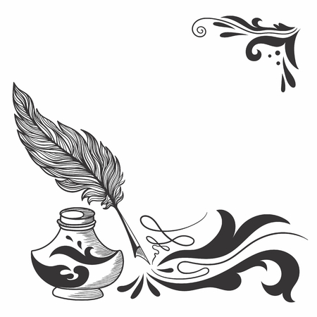 inkstand: Vector Sketch with Feather and Inkstand Illustration
