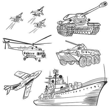 Vector Military Transport Sketch Set Illustration