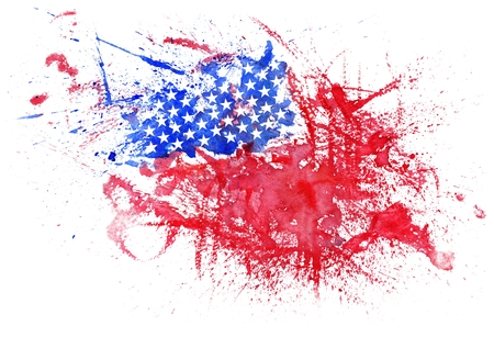 Abstract Watercolor USA Flag