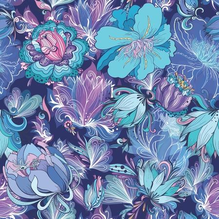 Indigo Flower Pattern Illustration