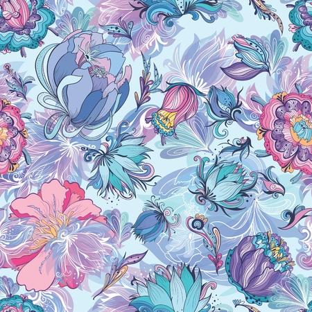 Azure Floral Vector Pattern