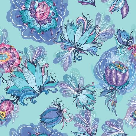 Turquoise Floral Lotus and Peony Vector Pattern