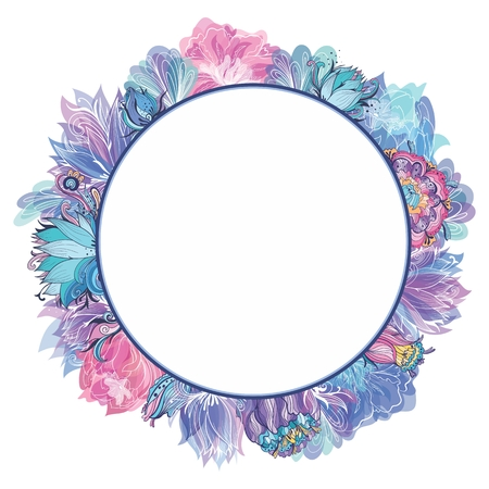 Circle romantic wreath with sketch doodle and transparent glowing lotus, lily and peony flowers