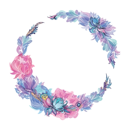 Vector Floral Wreath in Indigo and Pink