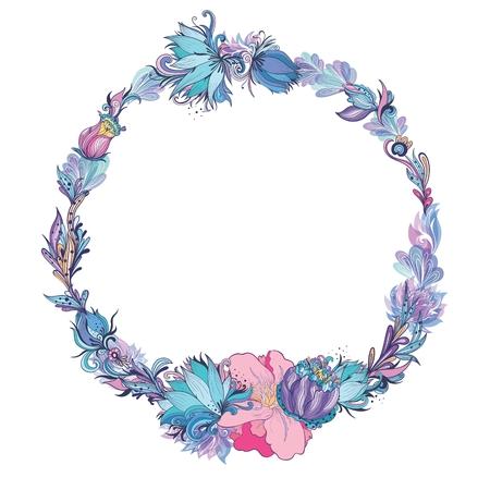Vector Floral Frame in Indigo and Pink Illustration