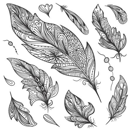 Creative doodle hand painted ornamental boho style design elements Illustration