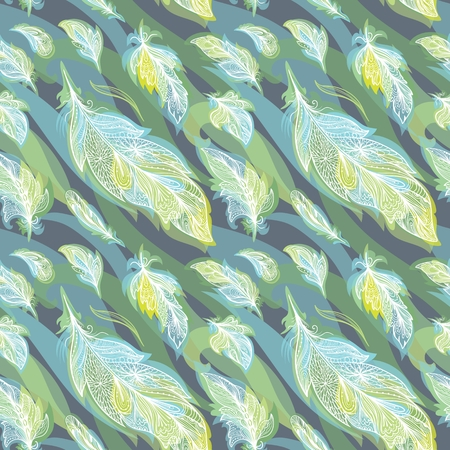 Green Vector Feather Pattern