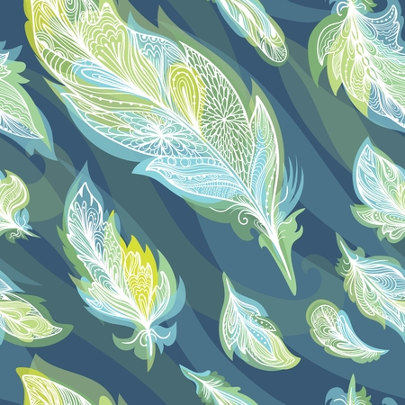 Green and Blue Vector Feather Pattern