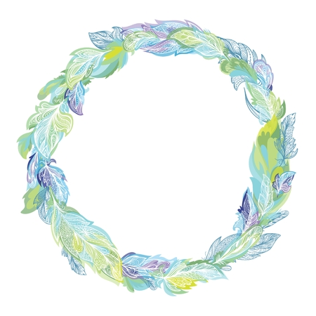 Circle elegant romantic spring tribal wreath in green and blue colors for card and print design
