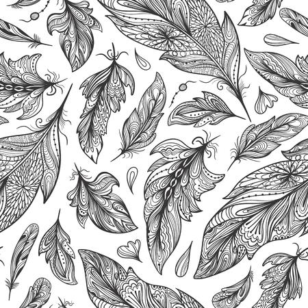 Seamless boho texture with decorative design elements on white background Illustration