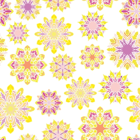 Seamless texture with Yellow sunny ornamental circles on white background for textile and paper design