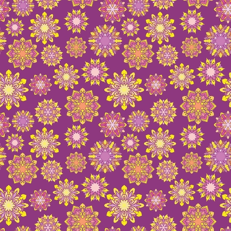 Seamless texture with Yellow ornamental circles on purple background for textile and paper design Illustration
