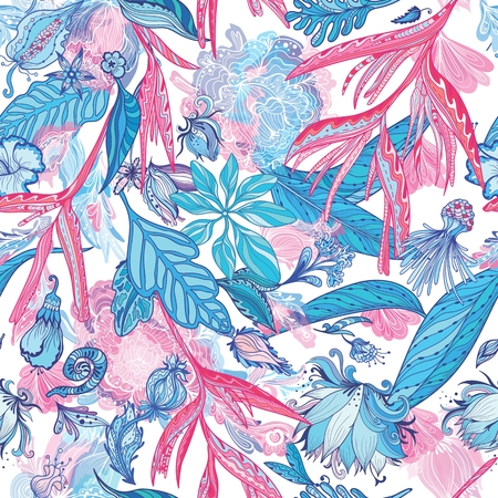 Pink and Blue Vector Tropical Pattern Illustration