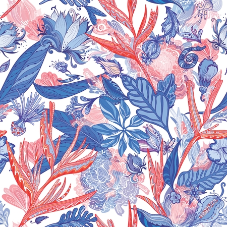 Red and Blue Exotic Pattern Çizim
