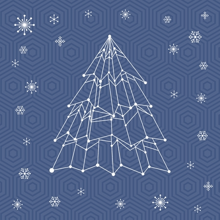 New year symbol card with snowflakes