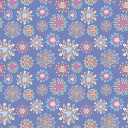 Seamless texture with Geometric bright colorful mandala shapes on blue background for wallpaper and textile design Illustration