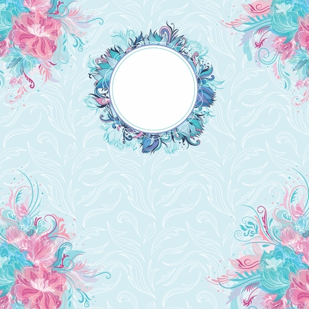 Wedding background in azure and blue pastel colors with lily and peony flowers