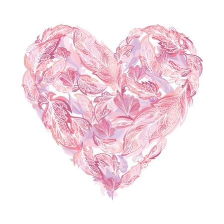 Boho tender heart vector.