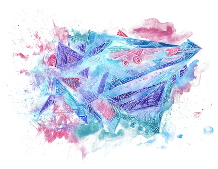 Space spaceship Abstract Watercolor Stock Photo