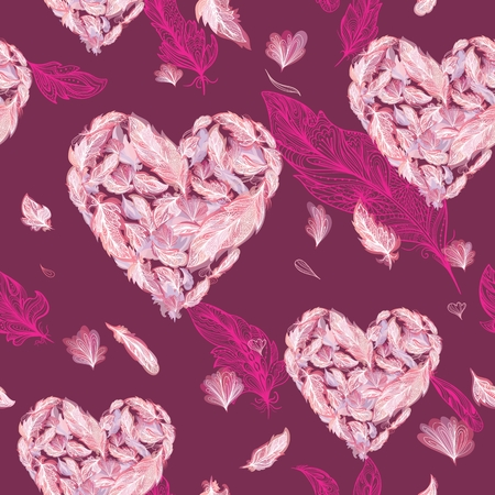 Samless texture Pink Valentine symbol shape made of ornamental feathers on maroon background