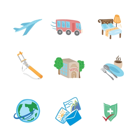 Travel Flat Sketch Icons in cartoon illustration.