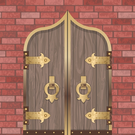 Vintage wooden door with metal border and lock on red brick wall Background