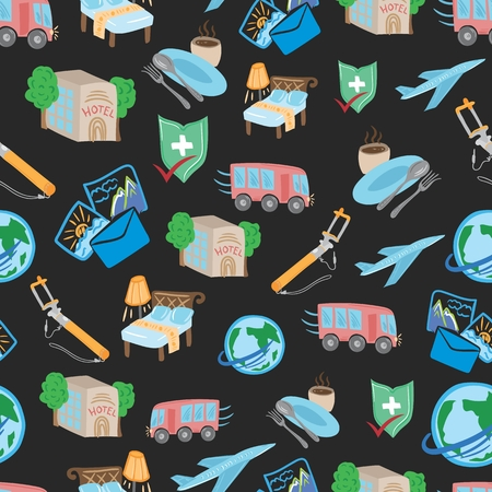 Travel Tour Vector Pattern with globe, car, airplane, bed, hotel doodles on dark background. Illustration