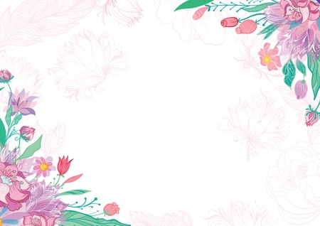Blossoming vector frame with pink sketch flowers for invitation and greeting design. Vettoriali