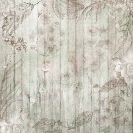 Boho Chic Fall Wood Background with Flowers and Feathers Stock Photo