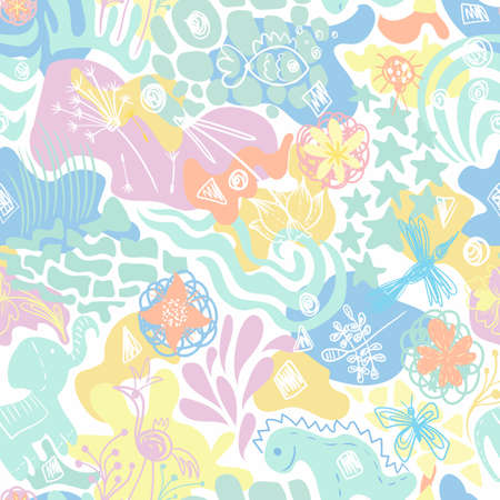 Abstract vector sunny summer childish seamless background