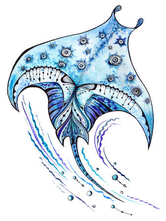 Manta ray sea animal watercolor and ink illustration Standard-Bild