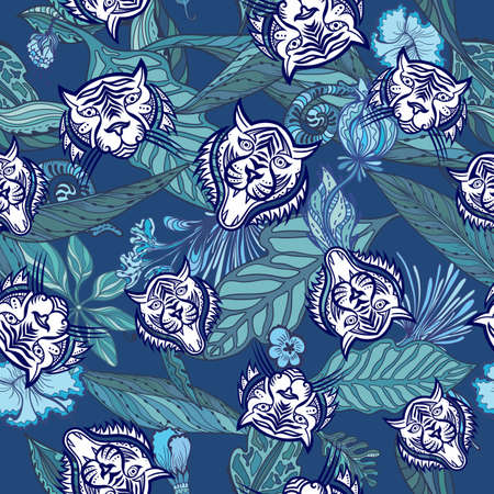 Vector pattern with wild cats and jungle plants Vectores