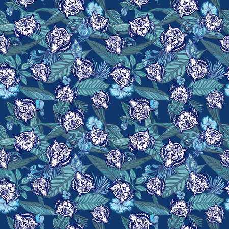 Blue Tiger exotic tropical seamless texture