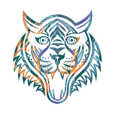 Ornamental tiger silhouette tattoo style vector art Vectores