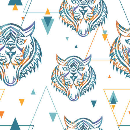 Ornamental tiger silhouette tattoo style vector pattern